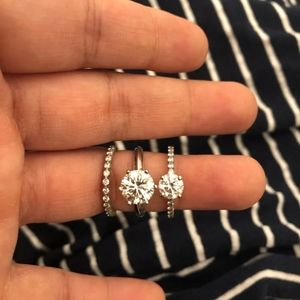 1, 2 or 3 Carat Moissanite Diamond Rings